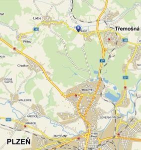 Mapa_Trem-Fest-sportovni_areal_ V LUHU_Tremosna-Zaluzi, kontakt, hudebni festival plzen sever